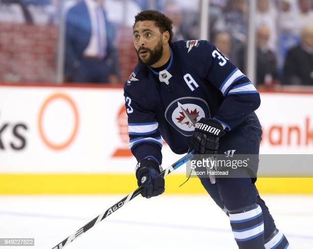 Dustin Byfuglien of the Winnipeg Jets warms up prior to Game Five of the Western Conference First Round during the 2018 NHL Stanley Cup Playoffs...