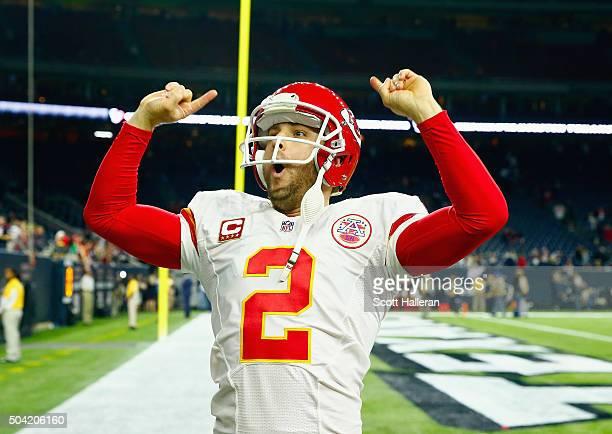 Dustin Colquitt of the Kansas City Chiefs celebrates their 300 win over the Houston Texans during the AFC Wild Card Playoff game at NRG Stadium on...
