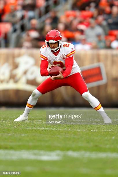 Dustin Colquitt of the Kansas City Chiefs kicks a punt during the game against the Cleveland Browns at FirstEnergy Stadium on November 4 2018 in...