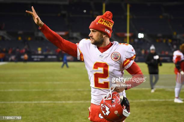 Dustin Colquitt of the Kansas City Chiefs leaves the field following a victory over the Chicago Bears at Soldier Field on December 22 2019 in Chicago...