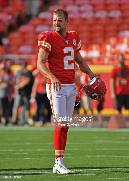 Dustin Colquitt of the Kansas City Chiefs looks on prior to a game against the Cincinnati Bengals at Arrowhead Stadium on August 10 2019 in Kansas...