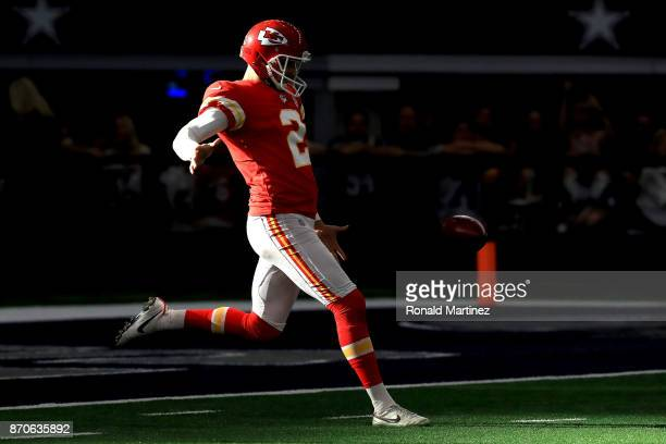 Dustin Colquitt of the Kansas City Chiefs punts against the Dallas Cowboys in the first quater of a football game at ATT Stadium on November 5 2017...