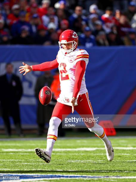 Dustin Colquitt of the Kansas City Chiefs punts against the New York Giants during their game at MetLife Stadium on November 19 2017 in East...