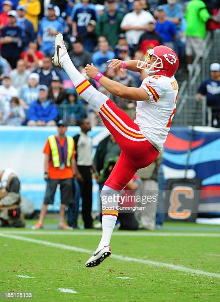 Dustin Colquitt of the Kansas City Chiefs punts against the Tennessee Titans at LP Field on October 6 2013 in Nashville Tennessee