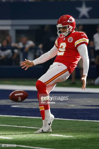 Dustin Colquitt of the Kansas City Chiefs punts as the Chiefs play the Dallas Cowboys at ATT Stadium on November 5 2017 in Arlington Texas