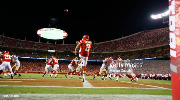 Dustin Colquitt of the Kansas City Chiefs punts during the game against the San Francisco 49ers at Arrowhead Stadium on August 11 2017 in Kansas City...