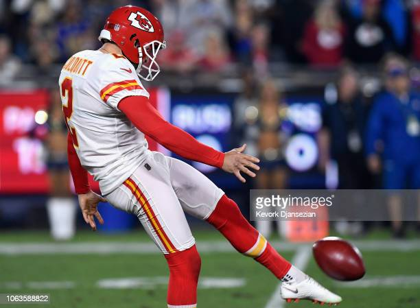 Dustin Colquitt of the Kansas City Chiefs punts the ball against the Los Angeles Rams in the first quarter of the game at Los Angeles Memorial...