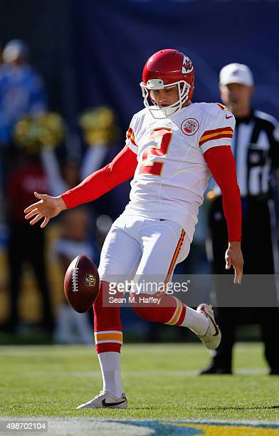 Dustin Colquitt of the Kansas City Chiefs punts the ball during the first half of a game against the San Diego Chargers at Qualcomm Stadium on...