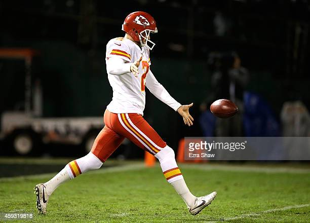 Dustin Colquitt of the Kansas City Chiefs punts the ball in the first quarter of the game against the Oakland Raiders at Oco Coliseum on November 20...