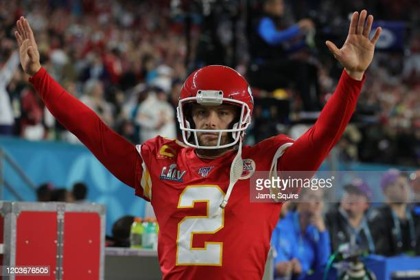Dustin Colquitt of the Kansas City Chiefs reacts against the San Francisco 49ersin Super Bowl LIV at Hard Rock Stadium on February 02 2020 in Miami...