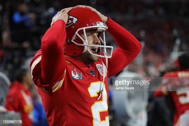 Dustin Colquitt of the Kansas City Chiefs reacts during the fourth quarter against the San Francisco 49ers in Super Bowl LIV at Hard Rock Stadium on...