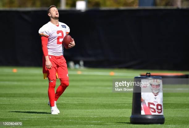 Dustin Colquitt of the Kansas City Chiefs warms up during the Kansas City Chiefs practice prior to Super Bowl LIV at Baptist Health Training Facility...