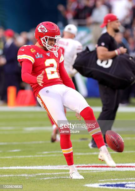 Dustin Colquitt of the Kansas City Chiefs warms up in Super Bowl LIV at Hard Rock Stadium on February 02 2020 in Miami Florida