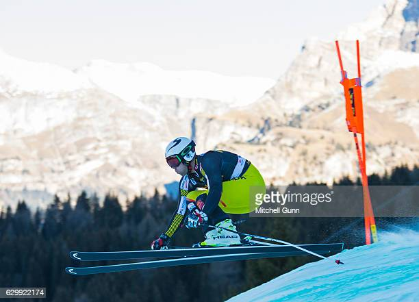 Dustin Cook of Canada races down the Saslong course during the Audi FIS Alpine Ski World Cup Men's Downhill training on December 15 2016 at Val...