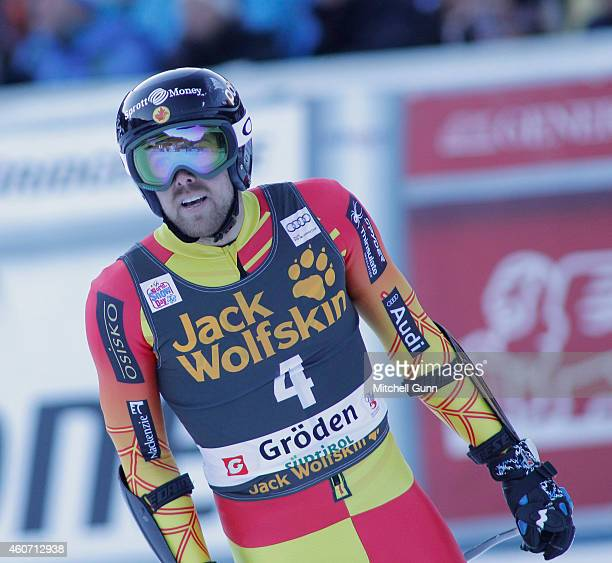Dustin Cook of Canada reacts in the finish area during the Audi FIS Alpine Ski World Cup Super G race on December 20 2014 in Val Gardena Italy