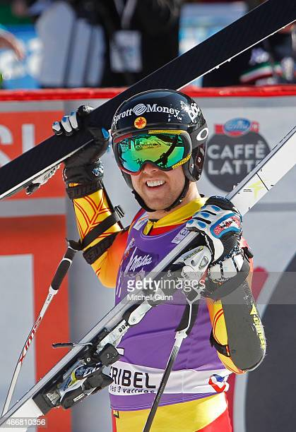 Dustin Cook of Canada reacts in the finish area of the FIS Alpine Ski World Cup men's SuperG race on March 19 2015 in Meribel France
