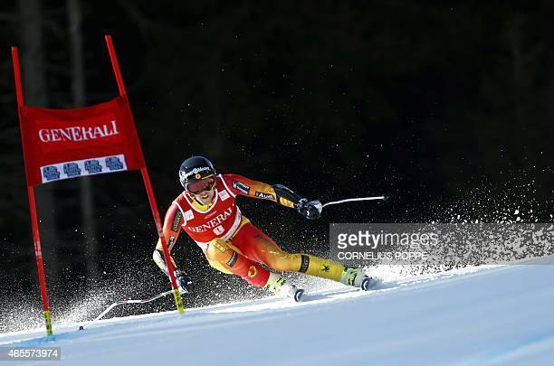 Dustin Cook of Canada speeds down to finish third during the Men's SuperG race at the FIS Alpine Skiing World Cup in Kvitfjell Norway on March 8 2015...
