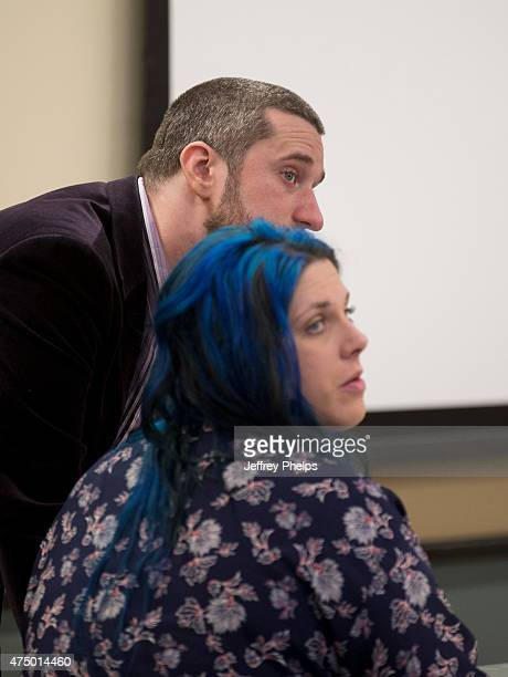 Dustin Diamond and fiancee Amanda Schutz during a break in his trial in the Ozaukee County Courthouse May 28 2015 in Port Washington Wisconsin...