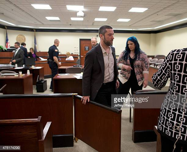 Dustin Diamond and fiancee Amanda Schutz leave a courtroom as his trial was given to the jury in the Ozaukee County Courthouse May 29 2015 in Port...