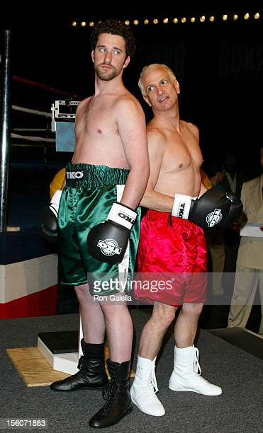 Dustin Diamond and Ron Palillo during 'Celebrity Boxing 2' WeighIn at KTLA Studios in Hollywood California United States