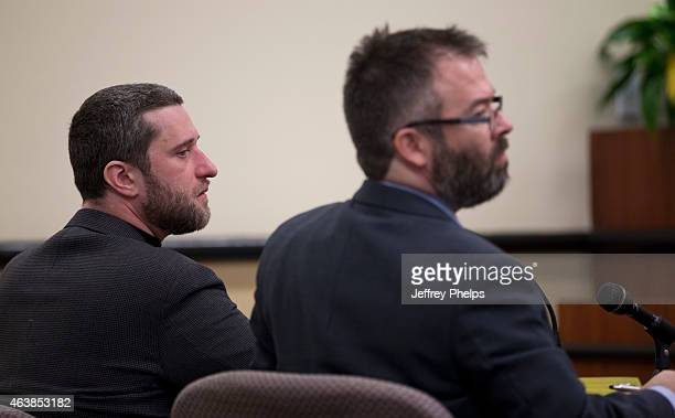Dustin Diamond attends further proceedings at Ozaukee County Courthouse on February 19 2015 in Port Washington Wisconsin Diamond best known for his...