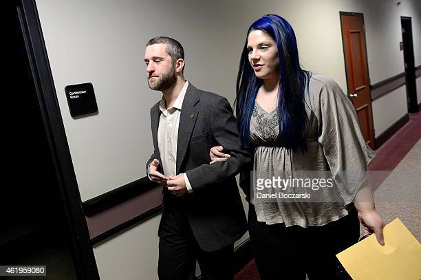 Dustin Diamond attends his arraignment whilst his girlfriend Amanda Schutz makes her initial appearance at Ozaukee County Courthouse on January 22...