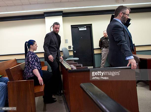 Dustin Diamond center enters a courtroom to attend further proceedings at Ozaukee County Courthouse on February 19 2015 in Port Washington Wisconsin...