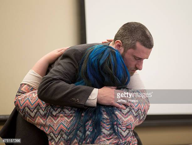 Dustin Diamond embraces his fiancee Amanda Schutz during his trial in the Ozaukee County Courthouse May 29 2015 in Port Washington Wisconsin Diamond...