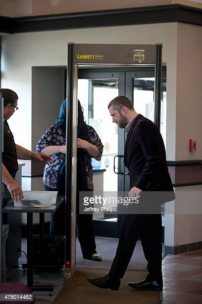 Dustin Diamond enter the courthouse for his trial in the Ozaukee County Courthouse May 28 2015 in Port Washington Wisconsin Diamond best known for...
