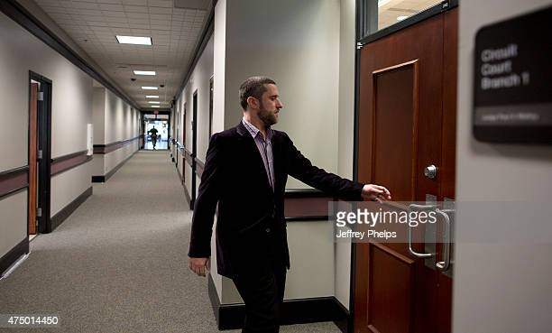 Dustin Diamond enter the courtroom for his trial in the Ozaukee County Courthouse May 28 2015 in Port Washington Wisconsin Diamond best known for his...