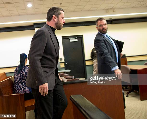 Dustin Diamond enters a courtroom to attend further proceedings at Ozaukee County Courthouse on February 19 2015 in Port Washington Wisconsin Diamond...