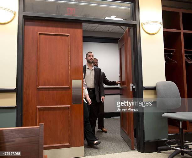 Dustin Diamond enters the courtroom with his attorney during his trial in the Ozaukee County Courthouse May 29 2015 in Port Washington Wisconsin...
