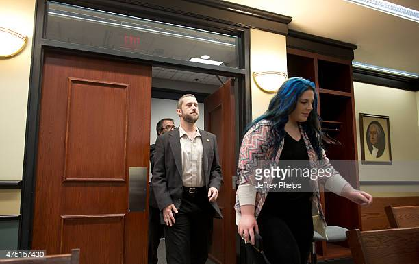 Dustin Diamond enters the courtroom with his fiancee Amanda Schutz during his trial in the Ozaukee County Courthouse May 29 2015 in Port Washington...