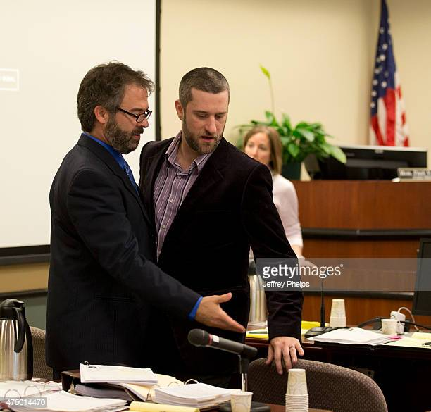 Dustin Diamond leaves the courtroom with his attorney during his trial in the Ozaukee County Courthouse May 28 2015 in Port Washington Wisconsin...