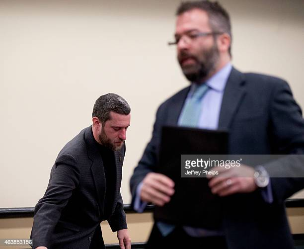 Dustin Diamond left attends further proceedings at Ozaukee County Courthouse on February 19 2015 in Port Washington Wisconsin Diamond best known for...