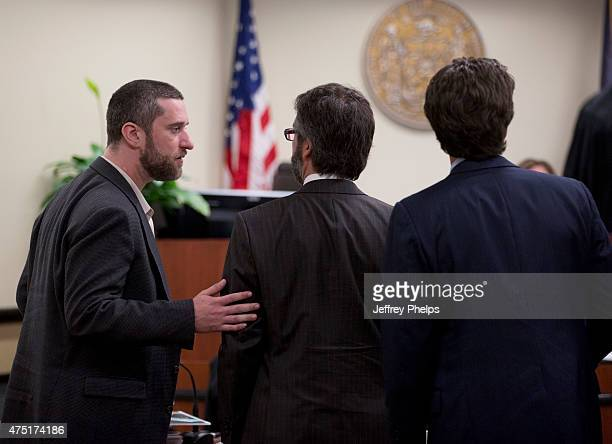 Dustin Diamond listens to his attorneys during his trial in the Ozaukee County Courthouse May 29 2015 in Port Washington Wisconsin Diamond best known...