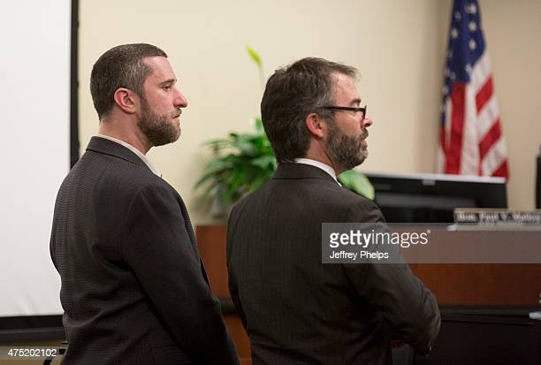 Dustin Diamond listens to the reading of a split verdict in an Ozaukee County Courthouse May 29 2015 in Port Washington Wisconsin Diamond was found...