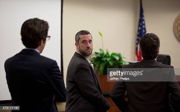 Dustin Diamond looks over at his attorneys during his trial in the Ozaukee County Courthouse May 29 2015 in Port Washington Wisconsin Diamond best...