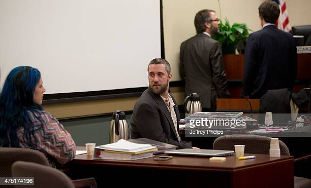 Dustin Diamond looks over at his fiancee Amanda Schutz during his trial in the Ozaukee County Courthouse May 29 2015 in Port Washington Wisconsin...