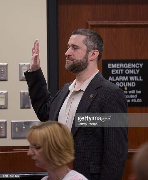 Dustin Diamond prepares to testify in the courtroom during his trial in the Ozaukee County Courthouse May 29 2015 in Port Washington Wisconsin...