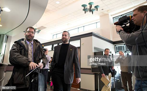 Dustin Diamond second from left leaves his preliminary hearing at Ozaukee County Courthouse on January 5 2015 in Port Washington Wisconsin Diamond...