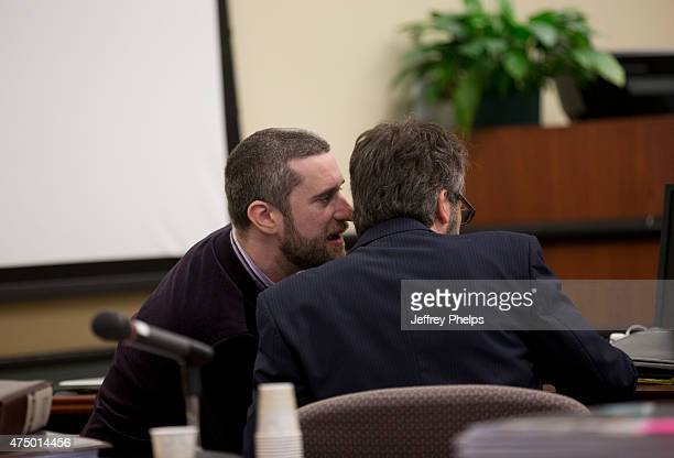 Dustin Diamond speaks to his attorney during his trial in the Ozaukee County Courthouse May 28 2015 in Port Washington Wisconsin Diamond best known...