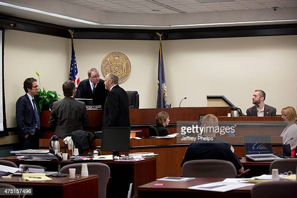 Dustin Diamond testifies as attorney speak with the judge in the courtroom during his trial in the Ozaukee County Courthouse May 29 2015 in Port...