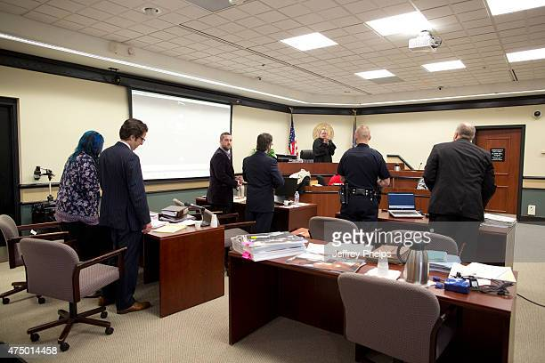 Dustin Diamond third from left during his trial in the Ozaukee County Courthouse May 28 2015 in Port Washington Wisconsin Diamond best known for his...