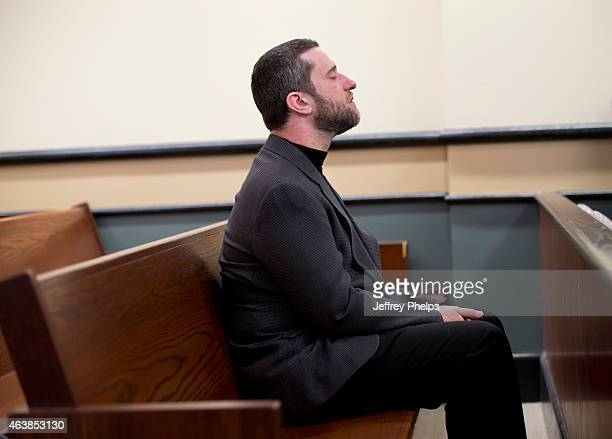 Dustin Diamond waits in a courtroom to attend further proceedings at Ozaukee County Courthouse on February 19 2015 in Port Washington Wisconsin...