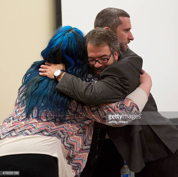 Dustin Diamond with fiancee Amanda Schutz and his attorney react after the reading of a split verdict in an Ozaukee County Courthouse May 29 2015 in...