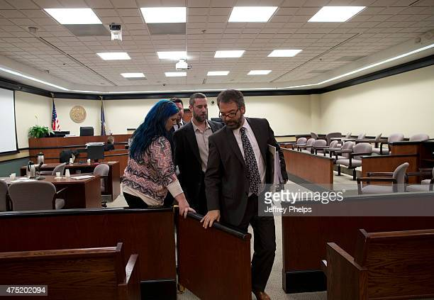 Dustin Diamond with fiancee Amanda Schutz and his attorney walk out of the coutroom after a split verdict in an Ozaukee County Courthouse May 29 2015...