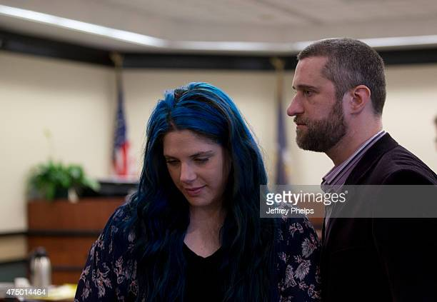 Dustin Diamond with his fiancee Amanda Schutz leaves the courtroom during his trial in the Ozaukee County Courthouse May 28 2015 in Port Washington...