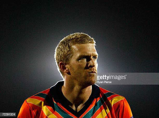 Dustin Fletcher of Australia looks on before the International Rules First Test between Ireland and Australia at Pearse Stadium on October 26 2006 in...