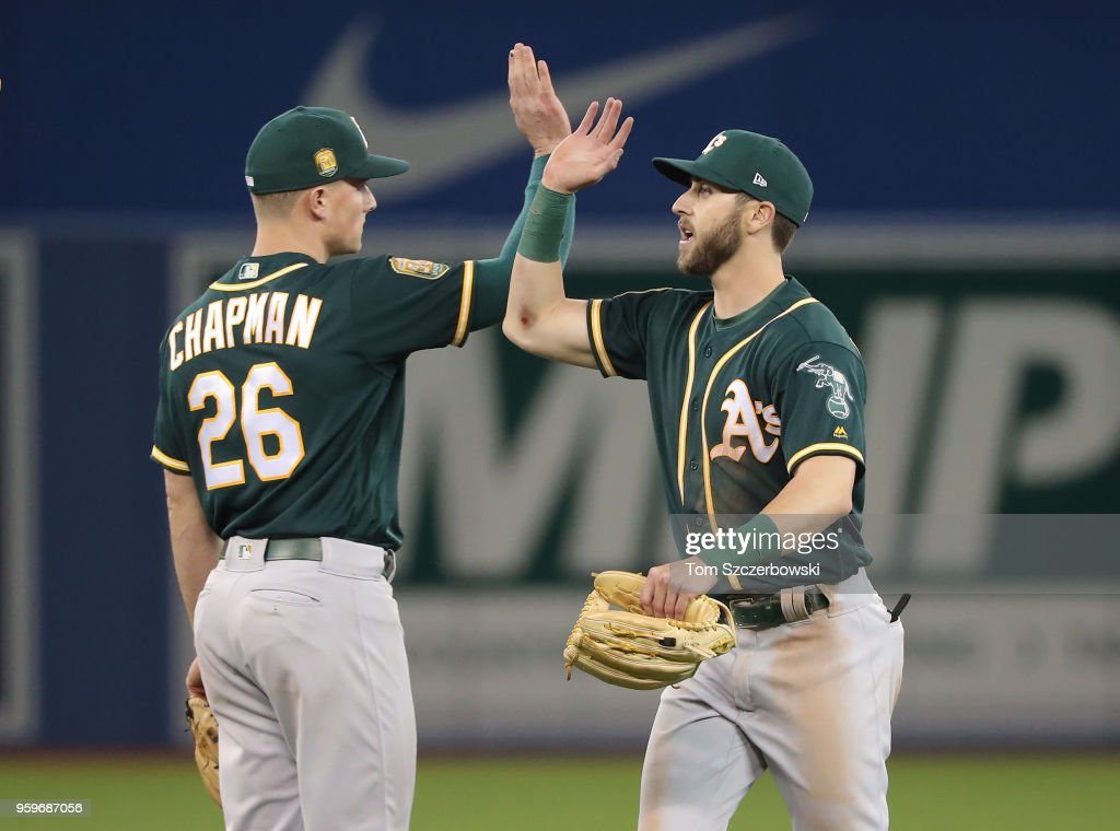 Dustin Fowler #11 of the Oakland Athletics celebrates their victory with Matt Chapman #26 during MLB game action against the Toronto Blue Jays at Rogers Centre on May 17, 2018 in Toronto, Canada.